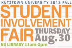 Involvement Fair, Thursday August 30 in Rohrbach Library