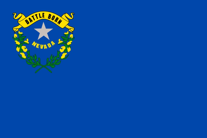 """Nevada state flag"" by Caleb Moore - Original vector image from OpenClipart: usa_nevada.svg.. Licensed under Public Domain via Wikimedia Commons"