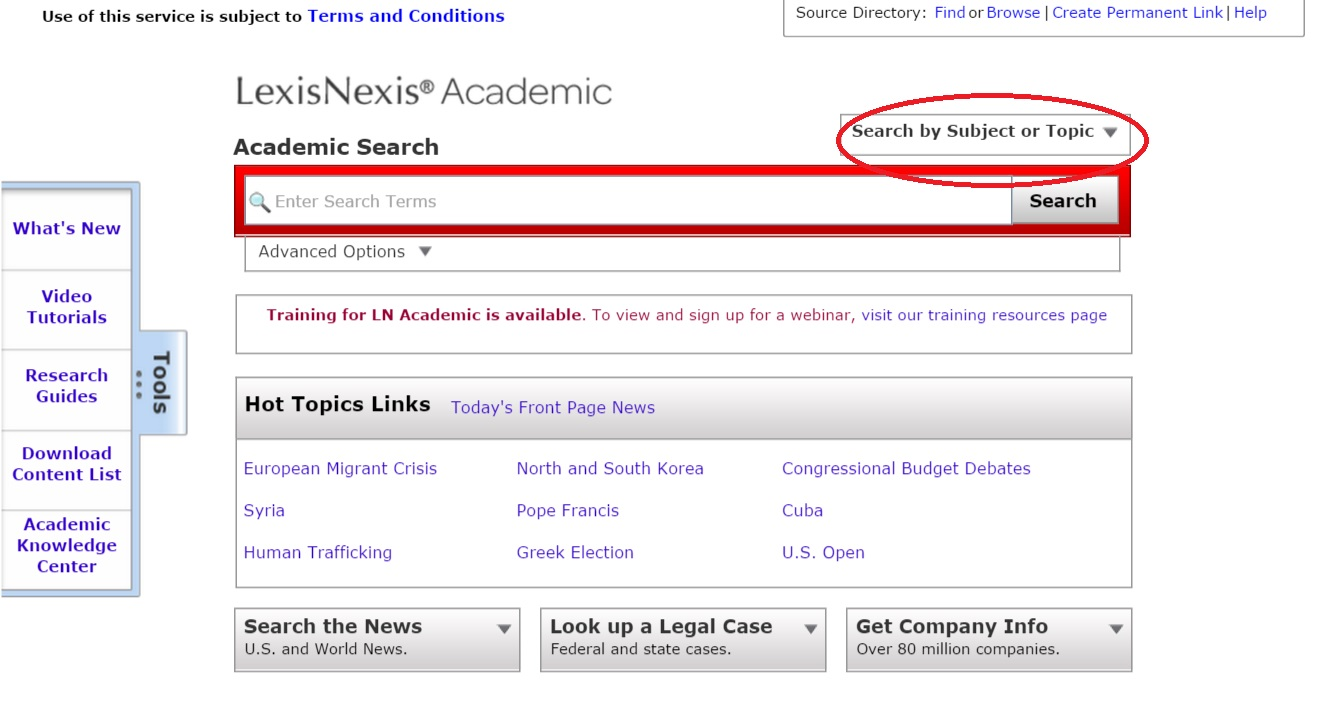 LexisNexis Academic search screenshot