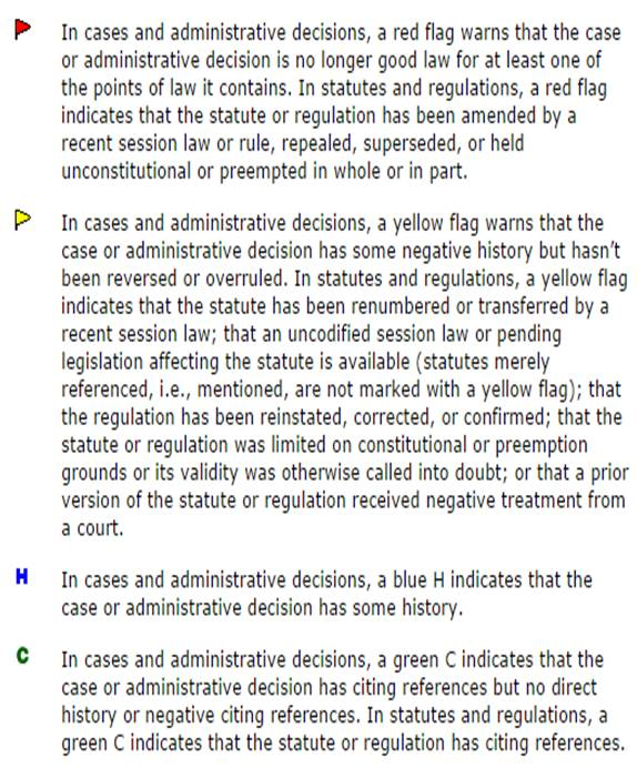Westlaw Key Cite flags key from http://www2.westlaw.com/CustomerSupport/Knowledgebase/Technical/WestlawCreditCard/WebHelp/KeyCite_Status_Flags.htm