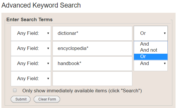Library Catalog Advanced Search, top of form