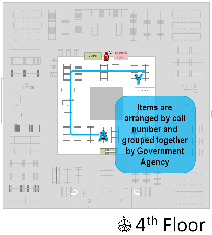 a map showing where U.S. Documents--4th Floor items are located
