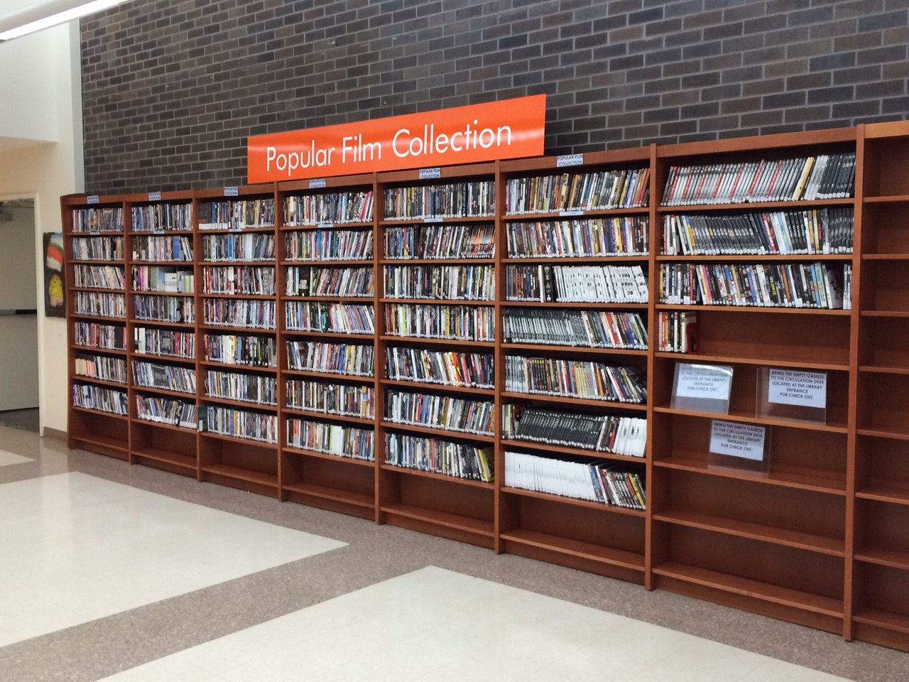 Popular film collection shelves.
