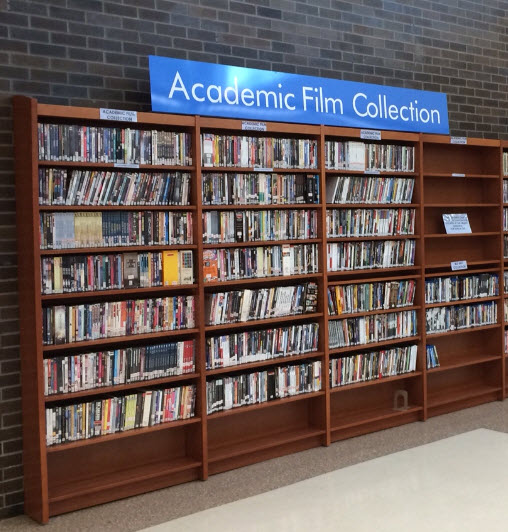 academic film collection shelf