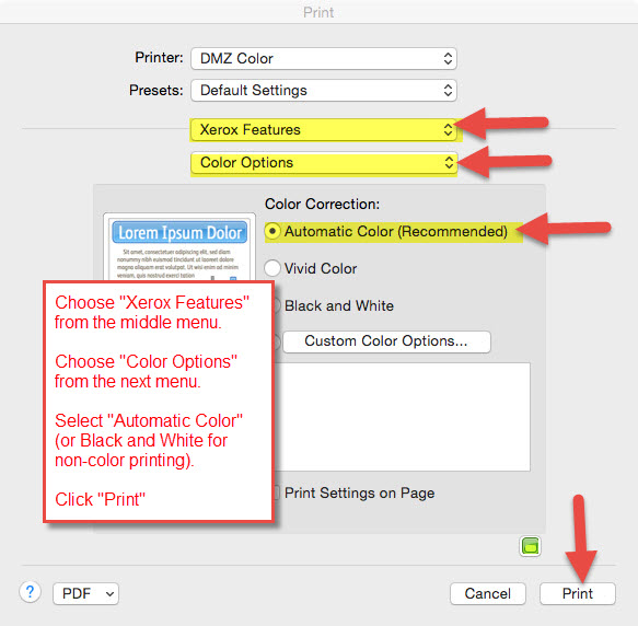 Mac Print Options With Xerox Features Color And