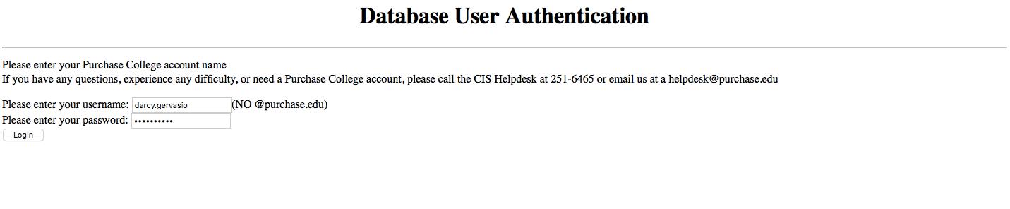 Database User login page
