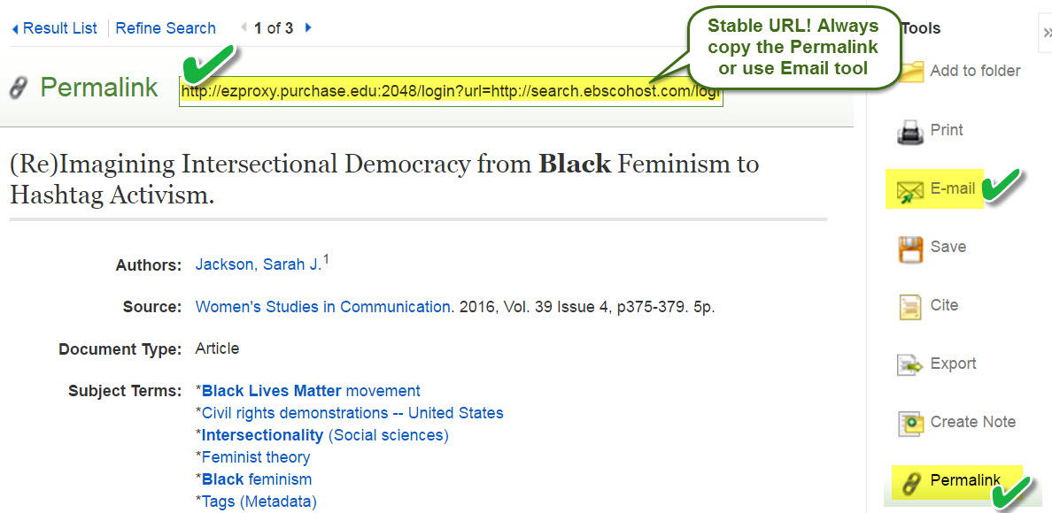 Stable Ebsco URL highlighted