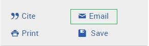 Labelled Proquest cite, print, email, and save icons. Email icon highlighted.