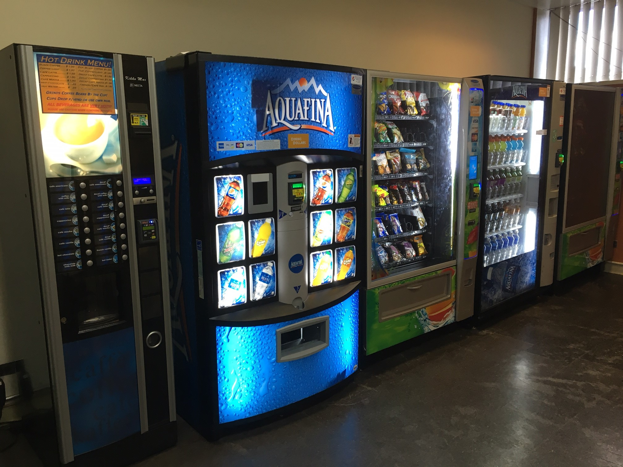 Are there vending machines in the library? Can I buy food ...
