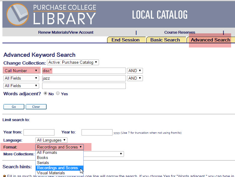 Purchase College Library advanced search.