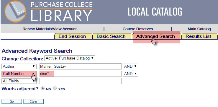 Purchase College LIbrary Advanced Search