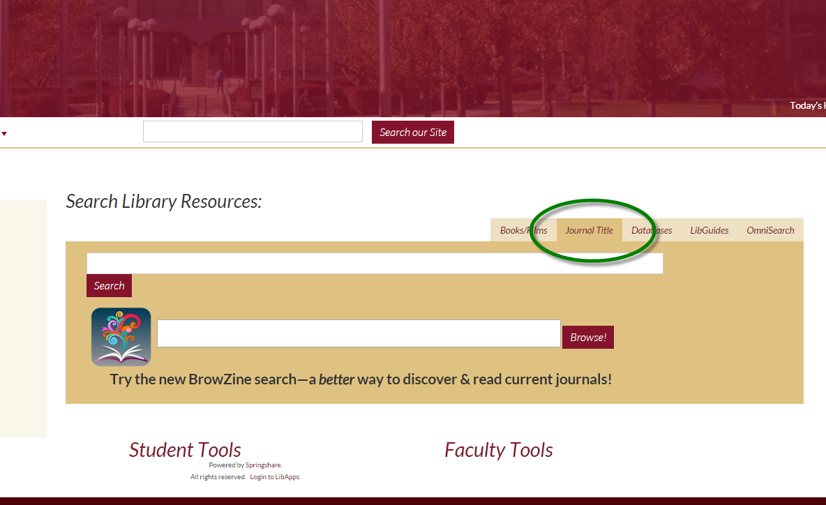 Select the Journal TItle tab on the OMNISEARCH box