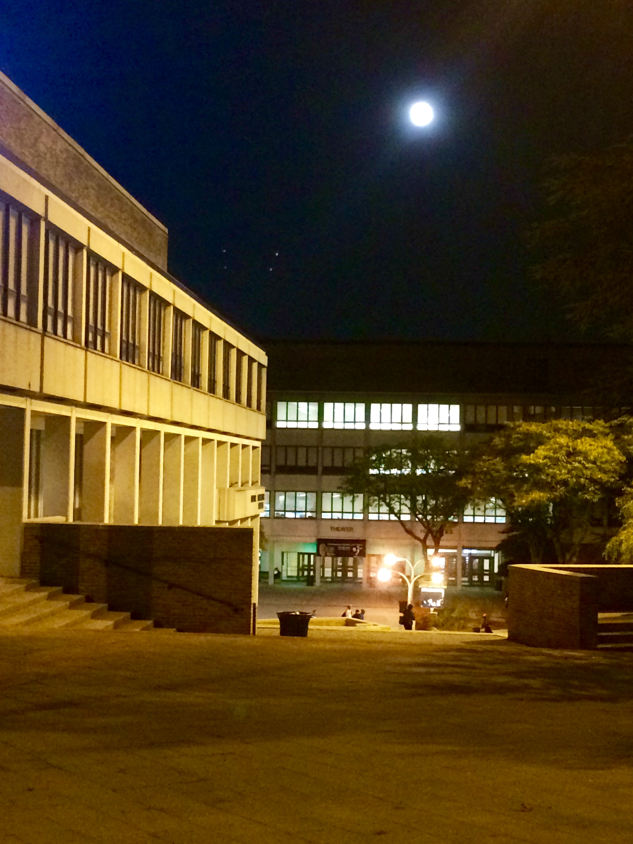 winning photo of QCC campus at night-time