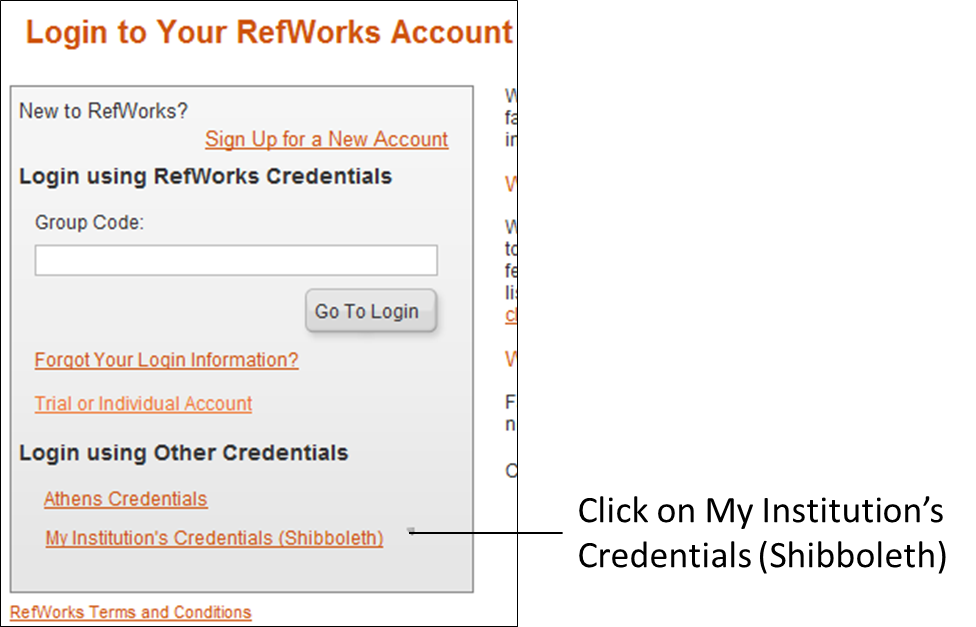RefWorks login screen showing 'Login using Other Credentials'