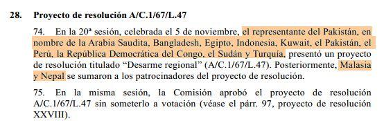Informe del Comité Princial al Plenario con los copatrocinadores