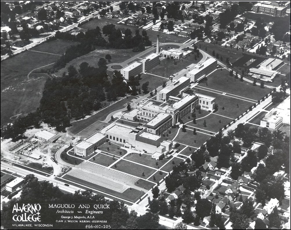 Aerial view of Christopher Hall construction