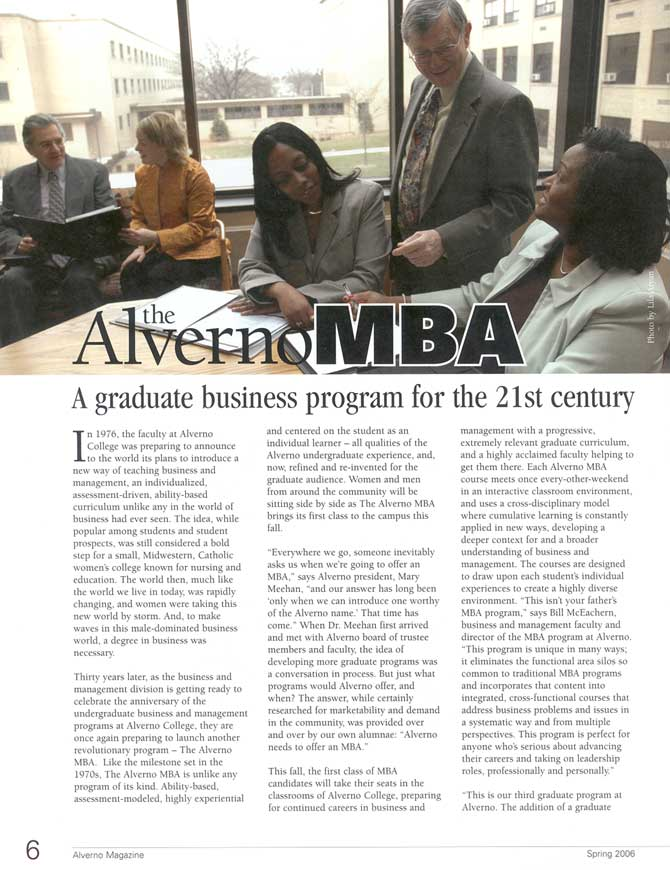Spring 2006 Alverno Magazine Article on Alverno MBA