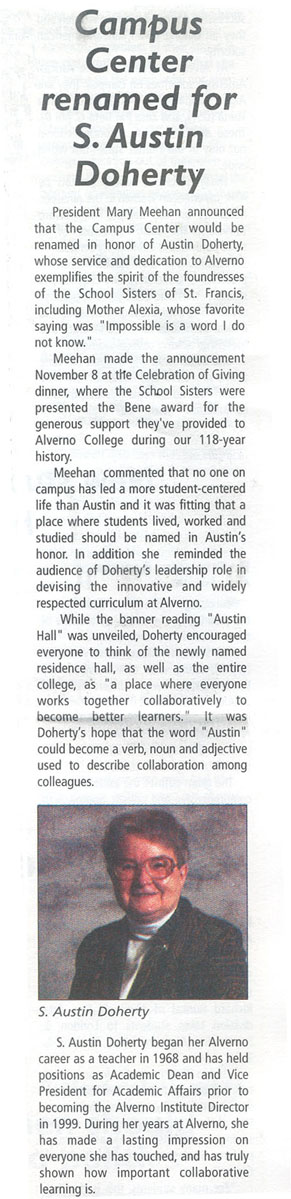 Article about Austin Hall, Alverno Alpha, November 2005