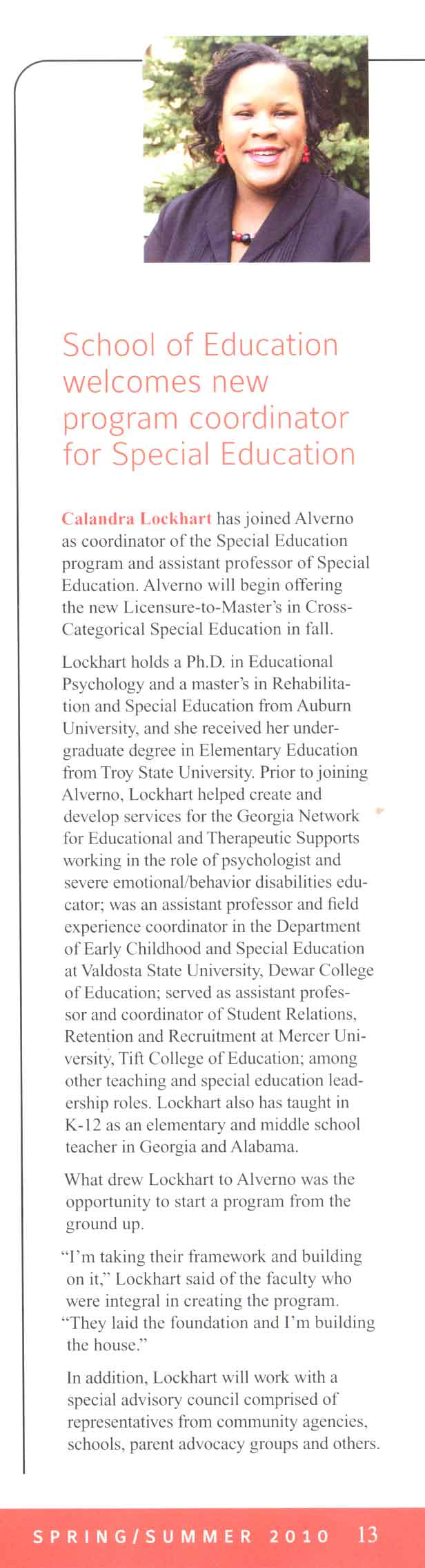 New Special Ed Masters program, 2010