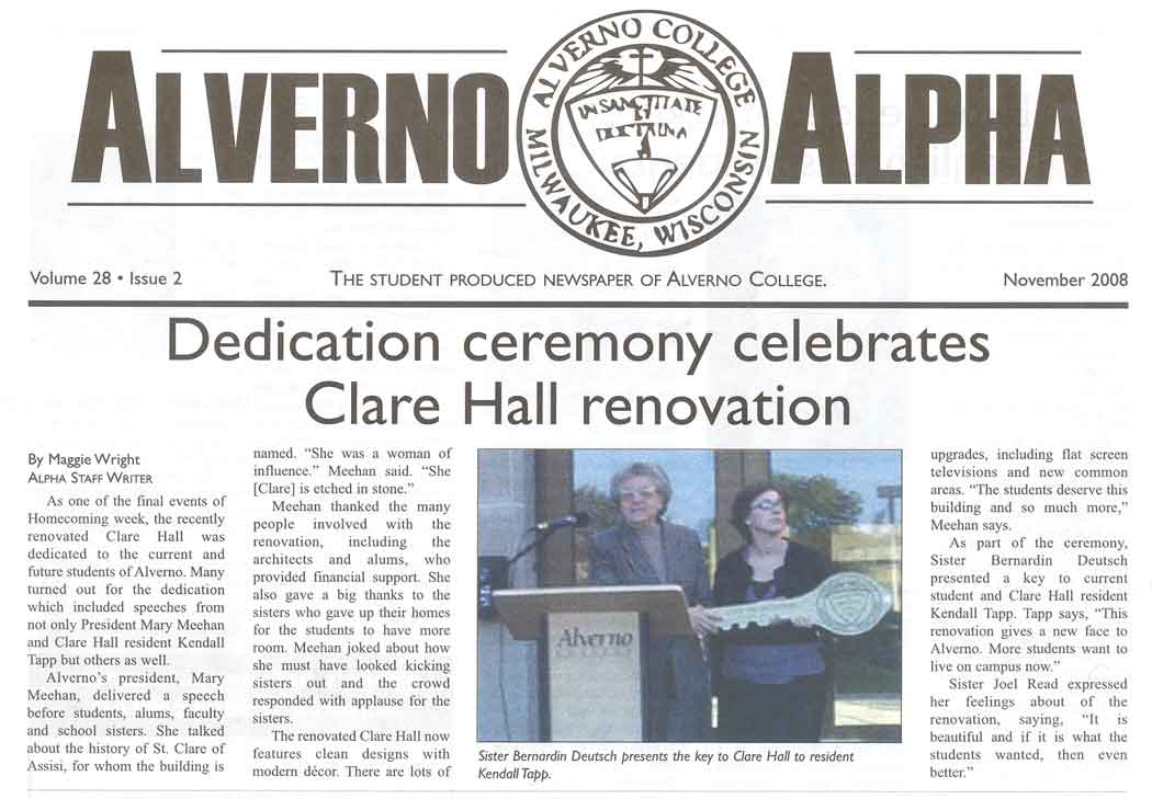 Clare Hall Rededication as depicted in November 2008 issue of Alverno Alpha