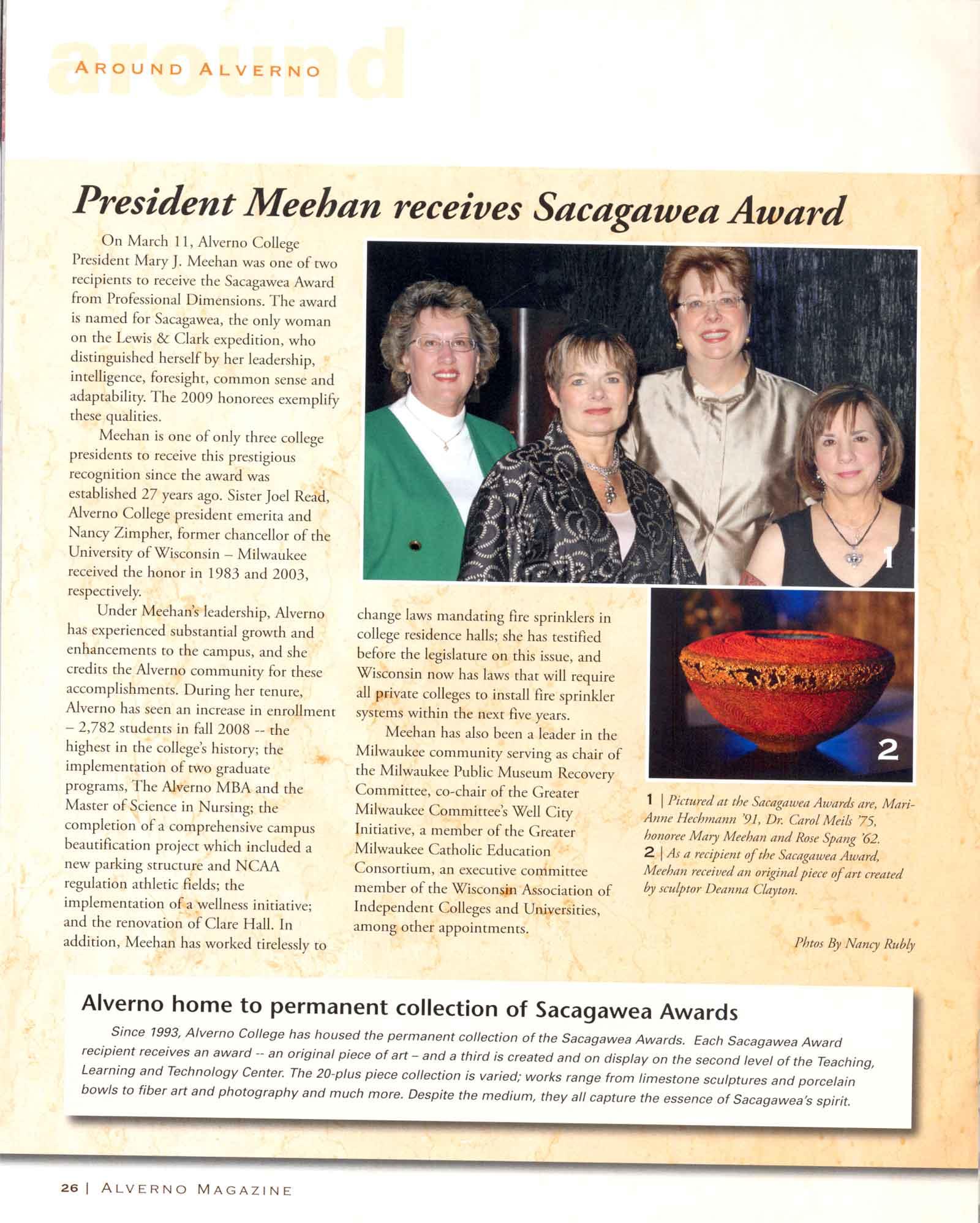 Dr. Mary Meehan recieves Sacagawea Award, Alverno Magazine Spring 2009