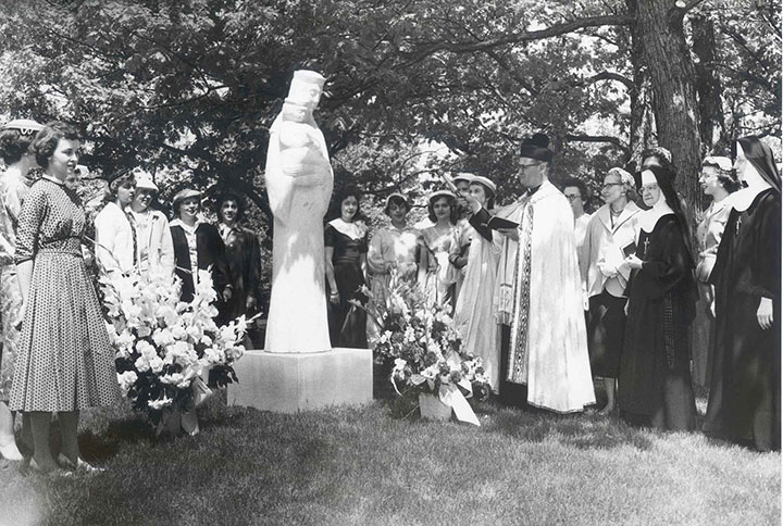 "Dedication of ""Mary, Queen of the Universe"" sculpture, May 25, 1958"