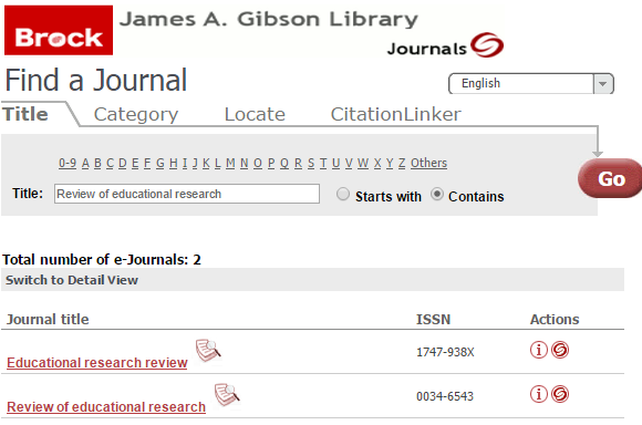 Screenshot of search in A-Z list of Journals on the Brock Library website.