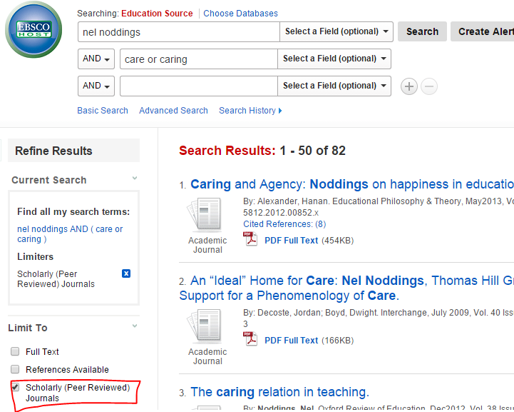 Screenshot of search in Education Source showing option to refine results to scholarly (peer-reviewed) articles.