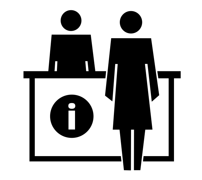 Black and white line drawing of person at information desk.