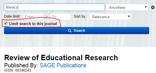 Screenshot of Scholars Portal search screen of Review of Educational Research. Check box indicating Limit search to this journal is highlighted.