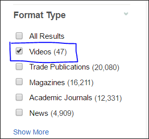 In SuperSearch, select videos under Format Type.