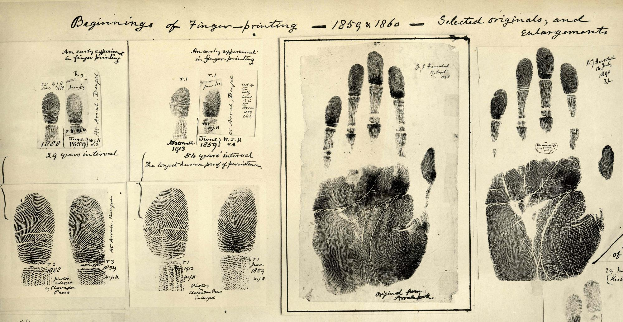 Fingerprints taken by William Herschel 1859/60