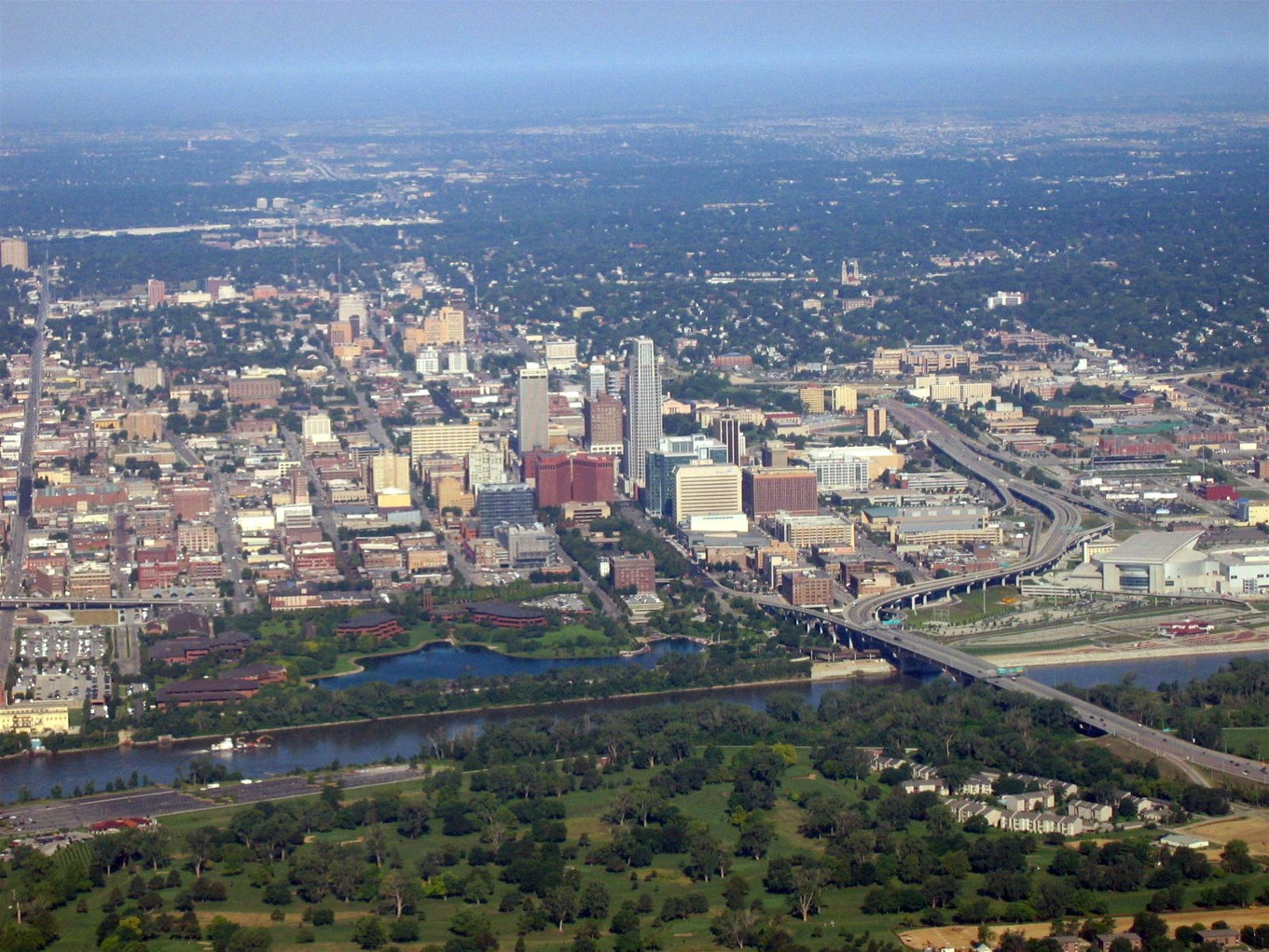 Arial view of Omaha, NE
