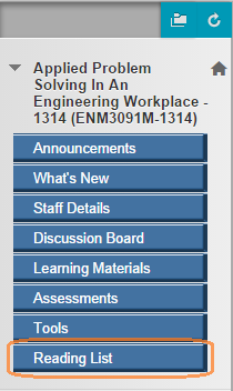 Screenshot of a Blackboard Site menu