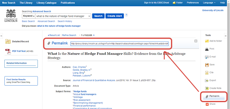 Screenshot from EBSCO Item Details page with the Permalink links outlined in red