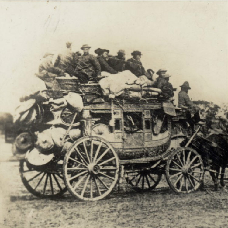Photograph, Coach is packed with equipment, chinese passengers inside and on top of Cobb & Co. coach, 1835.