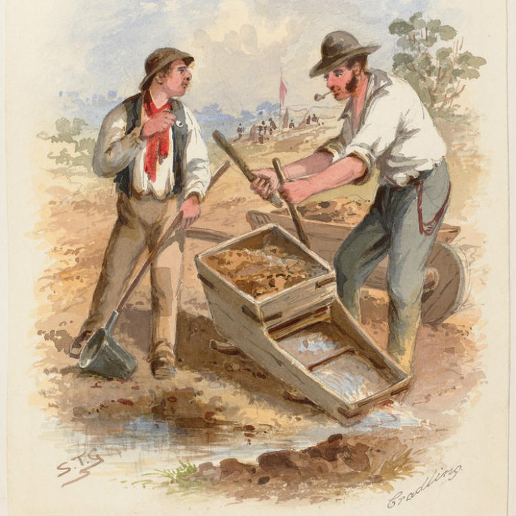 Watercolour, two miners standing beside water, one handling a wooden cradle used for sifting the sand and gravel from the gold, the other holding a bucket on a long handle.
