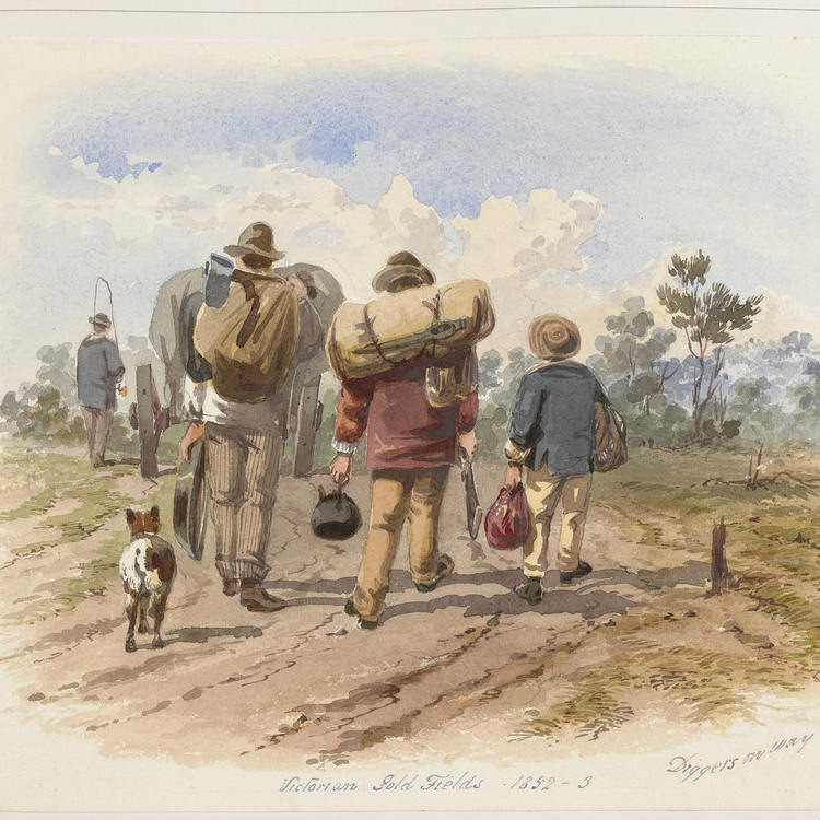 Watercolour painting, Shows rear view of men with swags, kettle and gun, one accompanied by a dog, all walking on a country road behind a laden horse and cart.