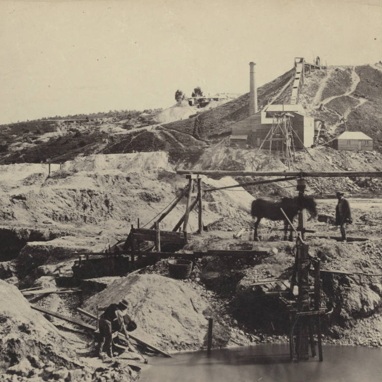 Photograph, Looking across earth works with miners using a gold washing cradle in foreground, man standing beside horse-drawn whim and crushing battery and conveyor in background.