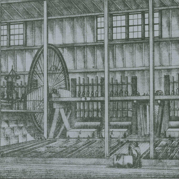 Lithograph, print, The Black Hill Company's Quartz crushing machinery: view of interior of building showing revolving stamps, man with rail truck in foreground.