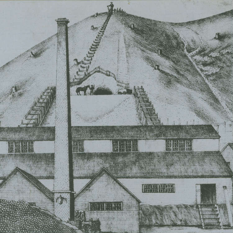 Lithograph, print, The Black Hill Quartz Mining Comany's claim, Ballarat: elevated view of buildings with brick chimney, tracks with rail trucks up hill in background