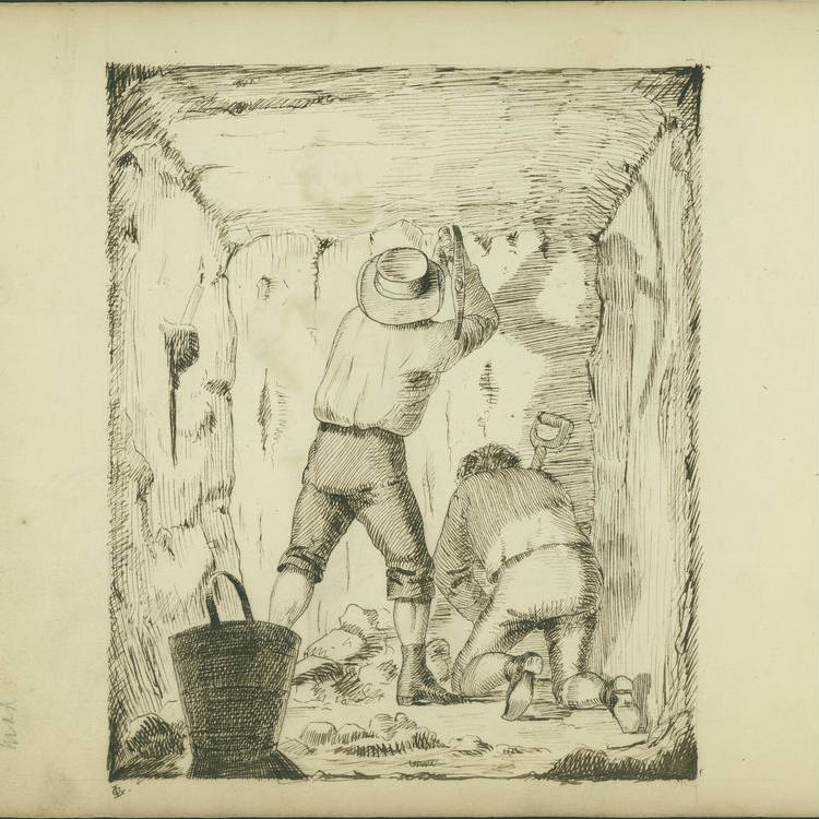 Drawing, iewed from rear, two men digging at wall in square cut tunnel, one man standing with a pick, other other kneeling at his feet, space lit by candle, shadows on wall.