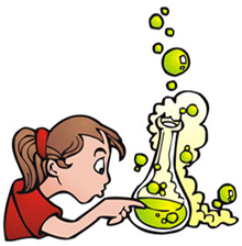 cartoon of a young girl poking at a chemistry experiment
