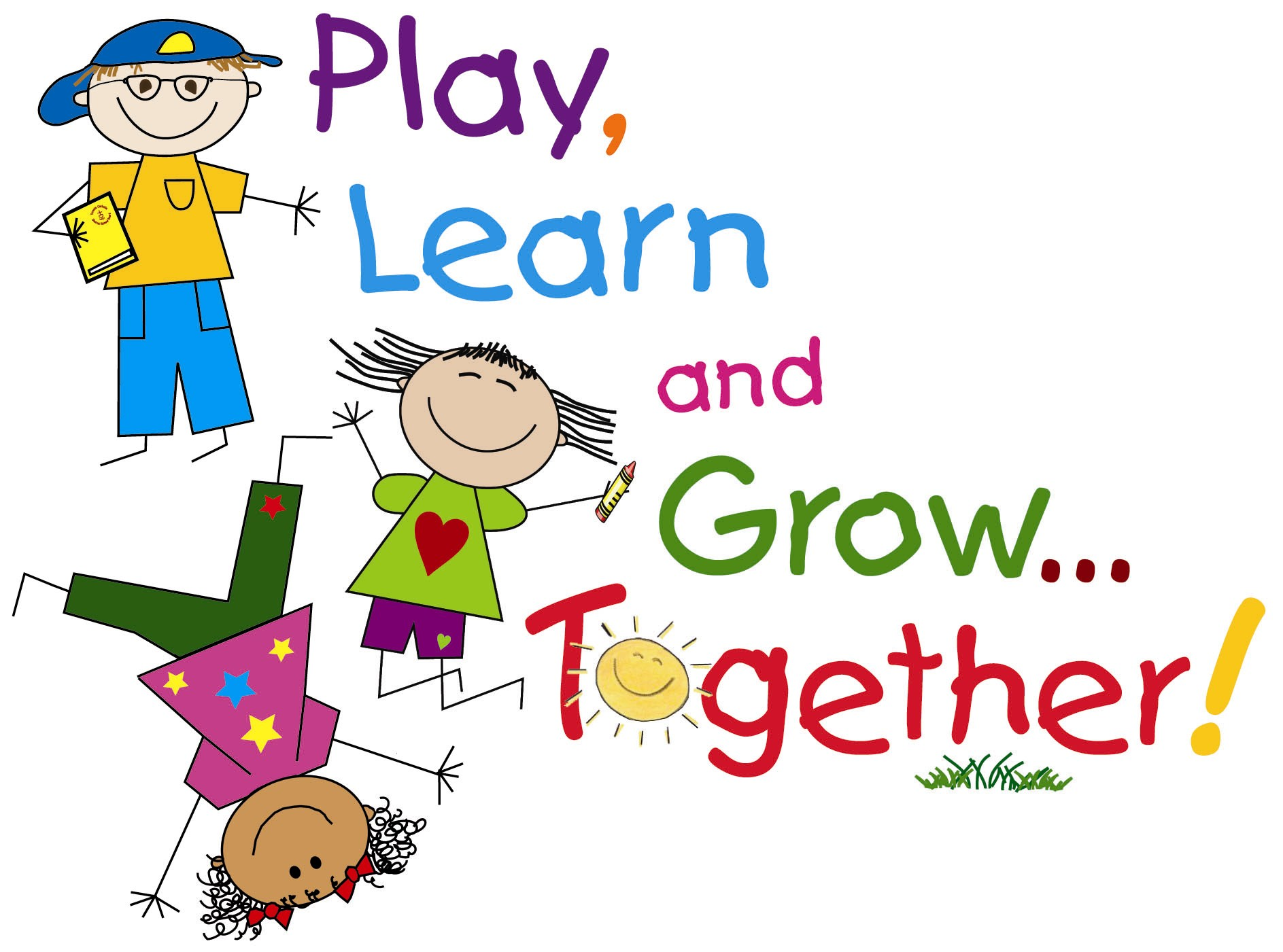 cartoon children playing with the word play learn & grow ... together