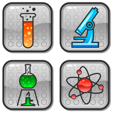 clip art with a test tube, microscope bunsen burner & atom