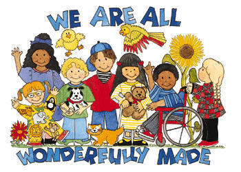 We are all wonderfully made graphic of children with a variety of disabilities & from different ethnic backgrounds
