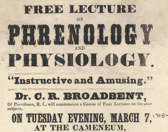 poster advertising lecture on phrenology