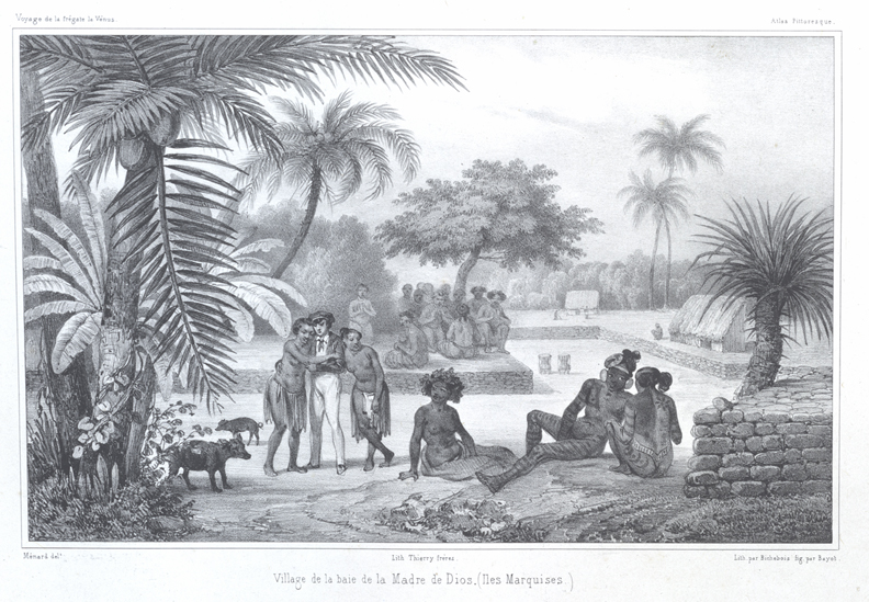Lithograph of Pacific Scenery