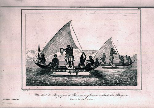 Lithograph of men on two canoes