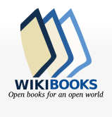 The image is one of 3 books and wikibooks written underneath with the slogan, open books for an open world.